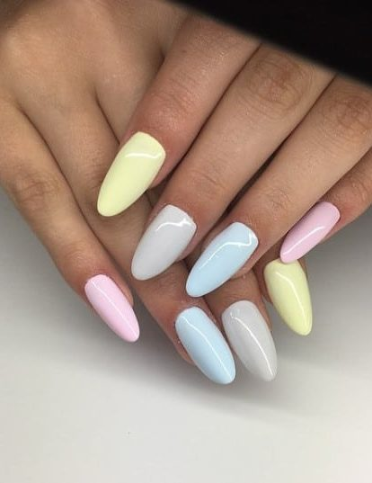 mismatched pastel nails