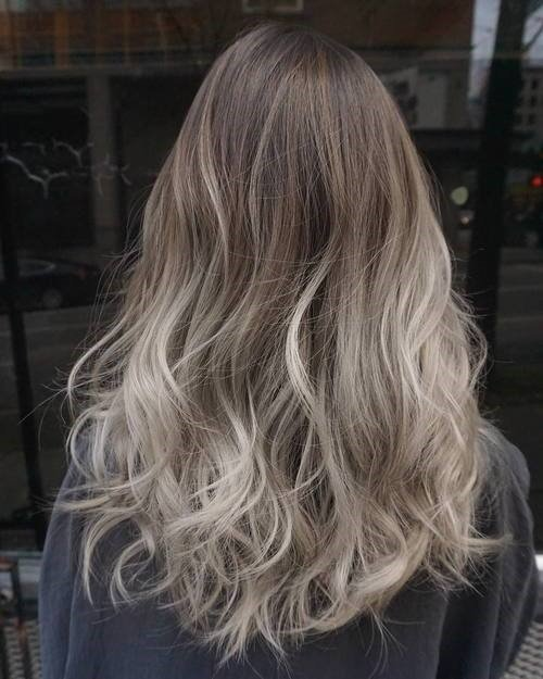 Long Wavy Ashy Metallic Autumn Hair