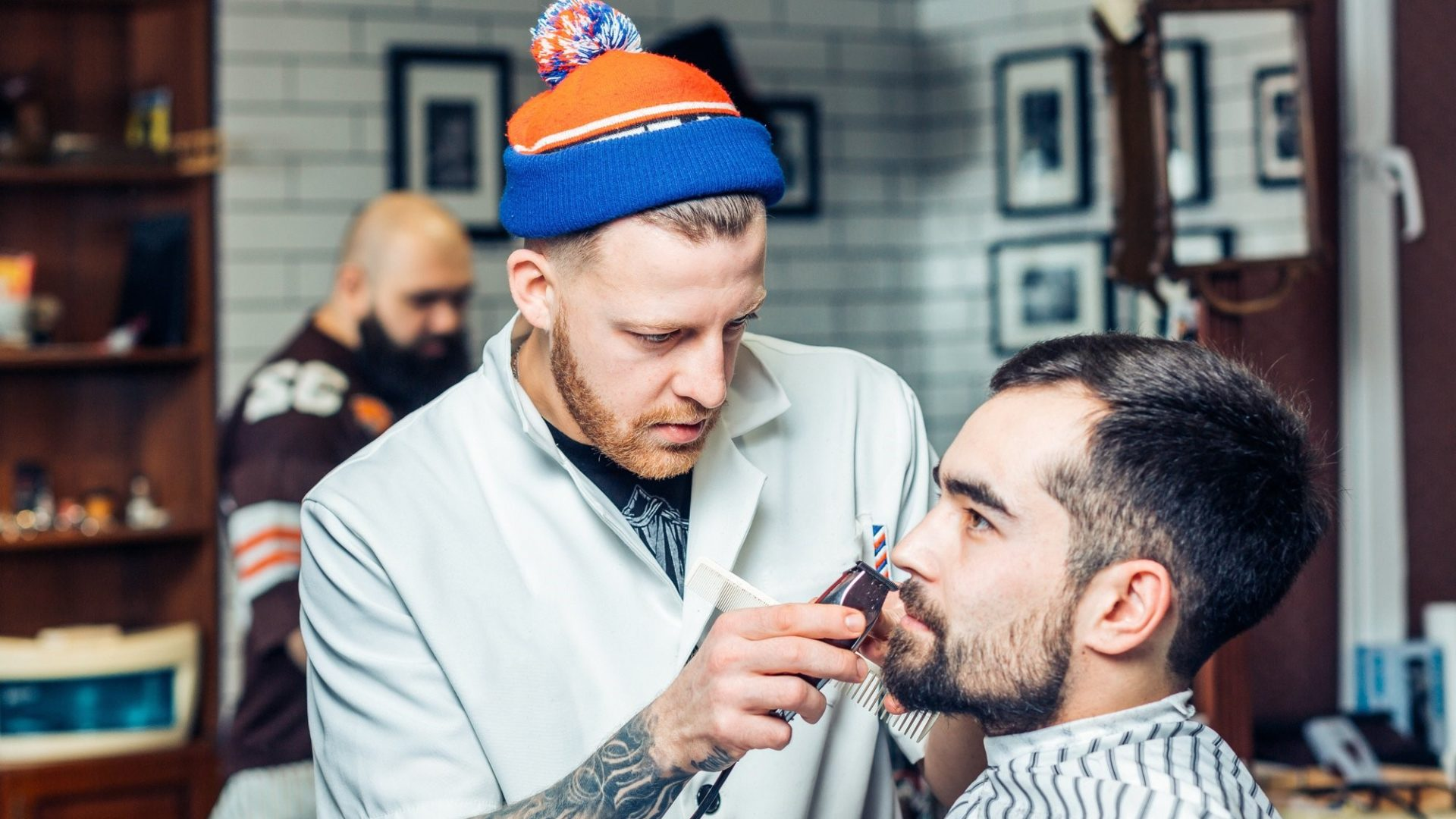 barber tending to a client