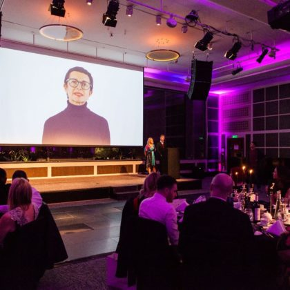 dinner event with a presentation